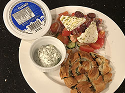 Spanikopita, greek salad, and tzatziki